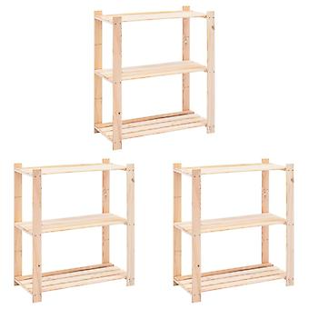 Storage shelves 3 floors 3 pcs. 80x38x90cm solid wood pine 150kg