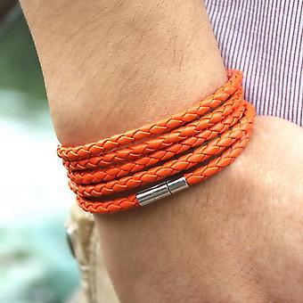 Retro Wrap Long Leather Bracelet, Men Bangles