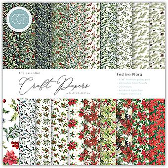 Craft Consortium Essential Craft Papers 6x6 Inch Paper Pad Florale festive