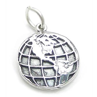 Earth Sterling Silver Charm .925 X 1 World Planets Charms - 3652