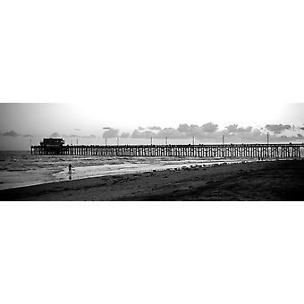 Molo in un oceano di Newport Pier Newport Beach Orange County California Stati UNITI Poster stampa