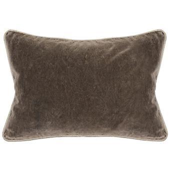 Oreiller rectangulaire de jet de tissu avec la couleur pleine et les bords piped, brun