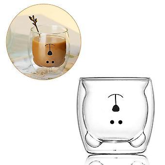 Kreatív aranyos medve kétrétegű kávés bögre