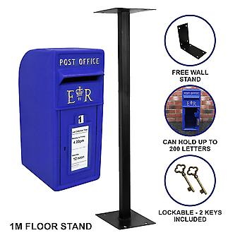 Royal Mail Post Box Cast Iron Pillar ER Letter Wall Mount Postal Floor Stand
