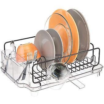 mDesign Kitchen Sink Dish Drainer  ; Metal Dish Rack for Kitchen Sink  ; Dish Drying Rack