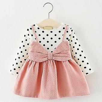 طفل فستان الأميرة الربيع الخريف طويل الأكمام وهمية 2 قطعة حزب اللباس