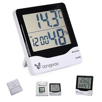 Cangaroo Termómetro 3 en 1, Higrómetro, Termómetro, Reloj Digital con Despertador