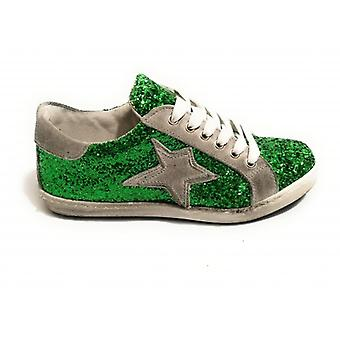 Shoes Woman Tony Wild Sneaker Leather Glitter Green / Suede Grey Star Ds18tw34