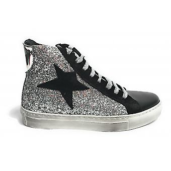 Shoes Woman Tony Wild Sneaker High Black Leather Glitter/ Laminate Silver Star Suede D18tw05