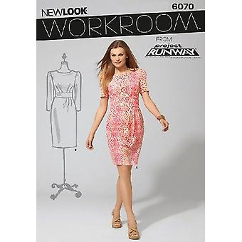 New Look Workroom Sewing Pattern 6070: Misses Dress, Size A(4-6-8-10-12-14-16)