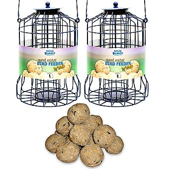 2 x Simply Direct Squirrel Guard Hanging Fat Ball Feeders with Tub of 50 Suet Fat Balls Feed for Wild Garden Birds