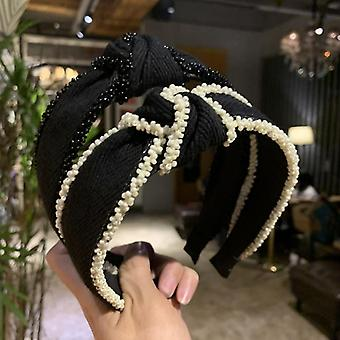 New Arrived Solid Hair Band Fashion Wide Side Pearl