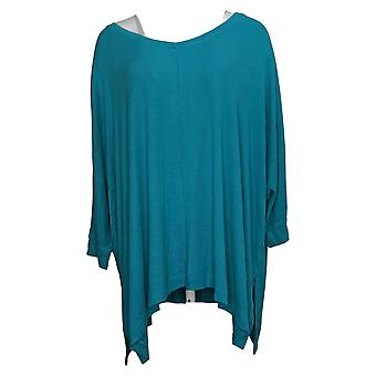 Laurie Felt Women's Plus Top Fuse Modal Ribbed Knit Pullover Green A392627