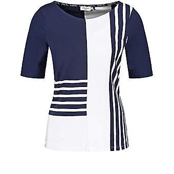 Gerry Weber T-Shirt 3/4 Arm, Blue/Ecru/Striped White, 46 Woman