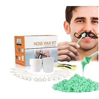 Portable Nose Hair Removal Wax Kit Painless Beads Nose Ear Hair Remover Wax Measuring Cup Moustache Stencils Tools Set Cosmetic