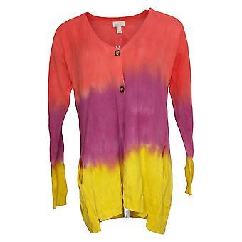 LOGO by Lori Goldstein Women's Sweater Hand Dyed Cardigan Purple A395621