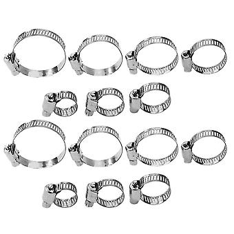 60pcs 8-38mm Water Gas Pipe Worm Drive Hose Clip Hose Clamps With Handle 304 Stainless Steel Hose Clamp Hoop Pipe Clips