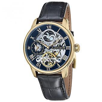 Thomas Earnshaw Es-8006-05 Longitude Blue, Gold & Black Leather Mens Automatic Skeleton Watch