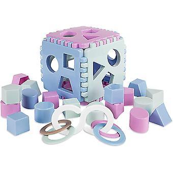 Formensortierer Steckwürfel   Steckbox Babyspielwürfel mit 18 Sortierblöcken und Kinderrassel