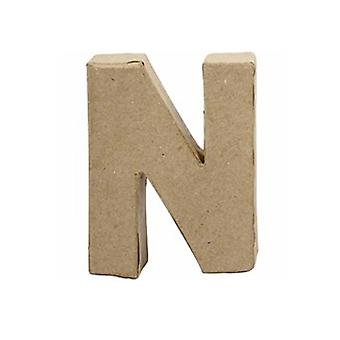 VIIMEISET MUUTAMAT - Pieni 100mm paperi mache kirje N | Papier Mache -muodot