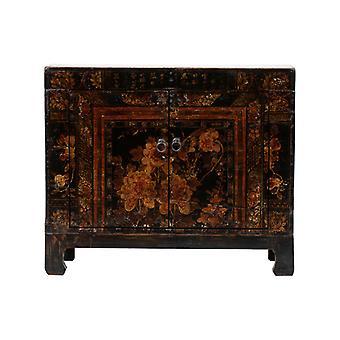 Fine Asianliving Antikk Kinesisk Skap Håndmalte Blomster W87xD39xH69cm