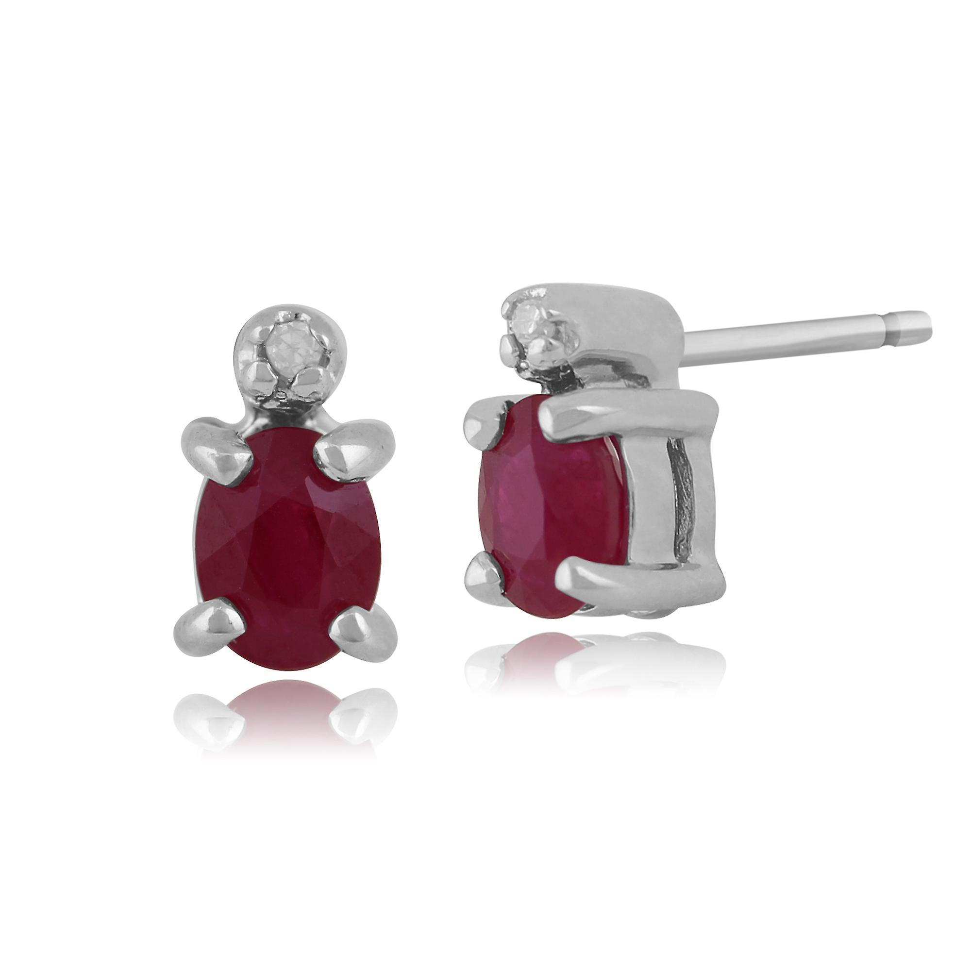 Gemondo 9ct White Gold Ruby & Diamond Stud Earrings & 45cm Necklace Set