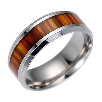 (8) Men'S Unique Wood Pattern Center Stainless Steel Band Ring 9# Size