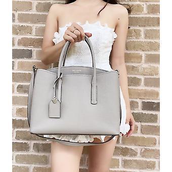 Kate spade margaux gran compartimento triple satchel verdadero cuero gris taupe