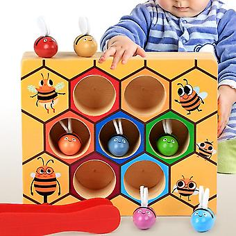 Wooden leaning educatinal toys children montessori early education beehive game childhood color cognitive clip small bee toy