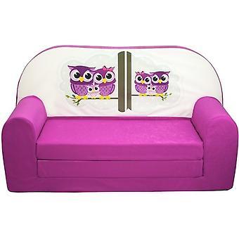 Kinder slaapbank - sofa - roze - logeermatras - 85 x 60 - uil