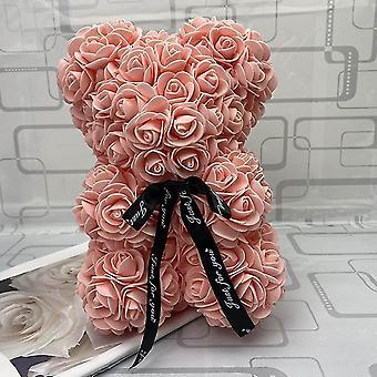Osito de peluche de pétalos de rosa de 25cm para regalar (melocotón)