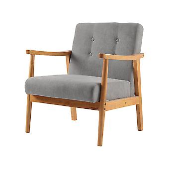 Wood Single Sofa Chair Grey Upholstered Armchair