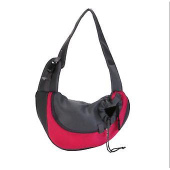 Haustier Umhängetasche, kleine Katzenschultertasche für Reisen, keine Notwendigkeit, im Voraus aufzuräumen, Brustschlinge, atmungsaktive Netztasche (klein, rot)