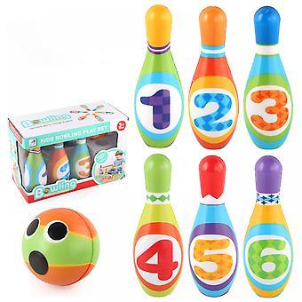 مجموعة البولينج للأطفال، لعب الأطفال 10 الملونة المطبوعة الرقمية دبابيس الرغوة الناعمة، 1 البولينج في الهواء الطلق لعبة التنمية الرياضة هدية W2