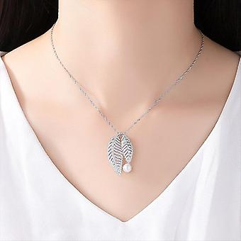 Authentic 925 Silver Chain Leaf Shape Pearl Necklace Pendant Pearl  Gift|Necklaces