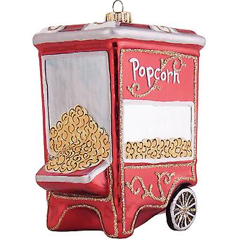 Street Vendor Popcorn Machine Christmas Holiday Ornament Glass