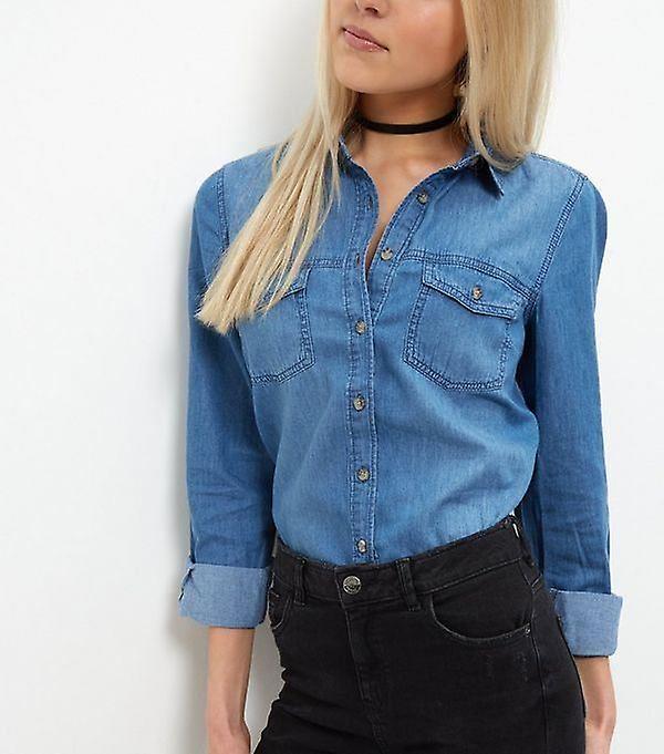 مظهر جديد زر الجينز عارضة للمرأة حتى قميص