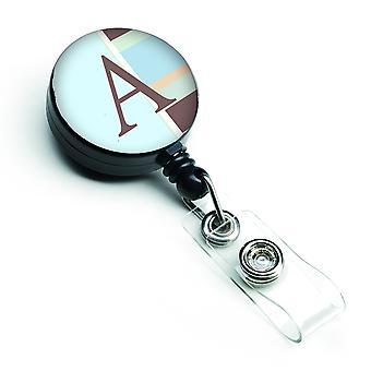 Letter A Monogram - Blue Stripes Retractable Badge Reel