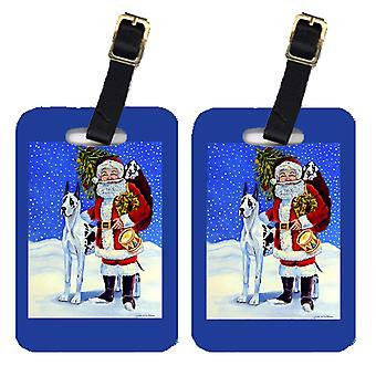 Par 2 harlekin stor danske med julenissen bagasjelapper