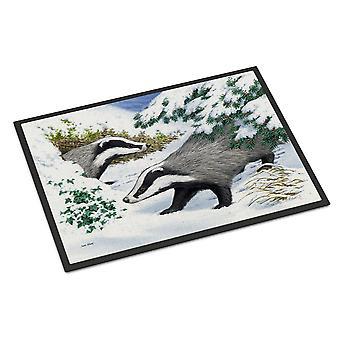 Carolines Treasures  ASA2182MAT Badgers in the snow Indoor or Outdoor Mat 18x27