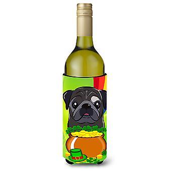 Sort Mops St. Patrick's Day vin flaske drik isolator Hugger