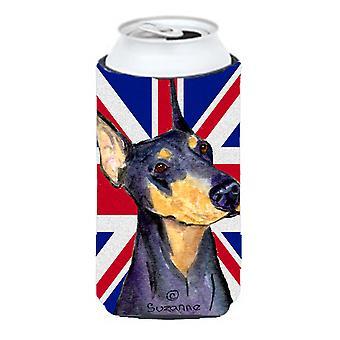 Doberman con inglés Union Jack británico bandera muchacho alto bebidas aislador Hugger
