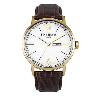 Ben Sherman Mens Gents montre bracelet marron visage blanc WB046TG