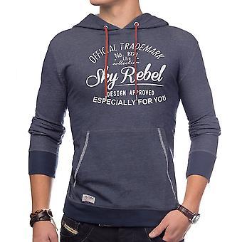 Mens hoodie sweatshirt pullover hooded blue heather casual