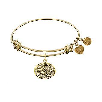 "Stipple Finish Brass Niece Angelica Bangle Bracelet, 7.25"""