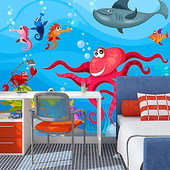 Papier peint - Poulpe et requin