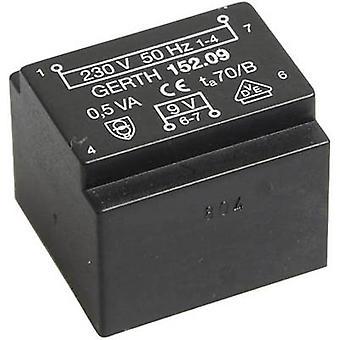 Gerth PT200901 PCB mount transformer 1 x 230 V 1 x 9 V AC 0.50 VA 55 mA