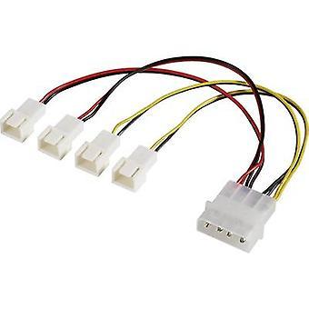 PC fan Y kabel [4x PC fan plug 3-pin - 1x IDE stekker 4-pins] 15,00 cm Zwart, Rood, Geel Akasa