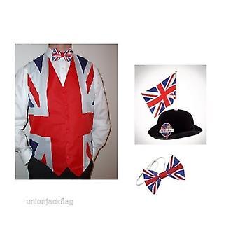 Union Jack dragen Union Jack Jack vest, strik en grote Britse Bowler met vlag