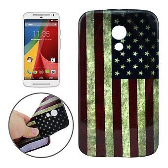 Fall skyddsfodral påsar TPU för Motorola telefon Moto G2 motiv retro flagga USA